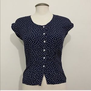 Vintage - Petite Fitted Polka Dot Blouse